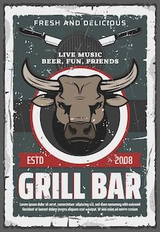 Plakat retro bar grillowy. głowa byka i wołowina