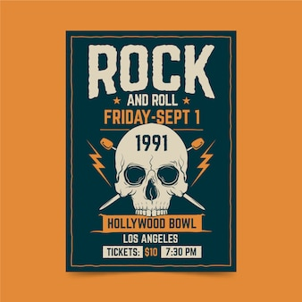 Plakat retro festiwal rockowy