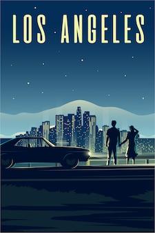 Plakat retro. ilustracja pionowa. la. los angeles. mężczyzna i kobieta patrzą na miasto nocą. para zakochanych. gród.