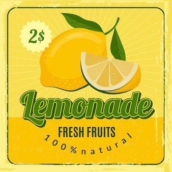 Plakat retro lemoniada. broszura reklamowa z projektem marketingowym restauracji ze świeżym sokiem z cytryny. sok z lemoniady, tabliczka ze świeżym napojem z ilustracją ceny