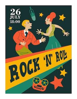 Plakat retro. mężczyzna i kobieta tańczą rock and rolla