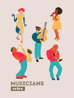 Plakat retro. muzycy retro i piosenkarka.