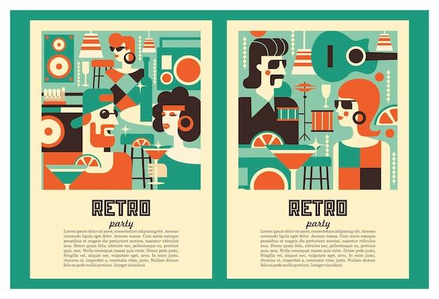 Plakat retro party. ilustracja wektorowa w stylu retro.