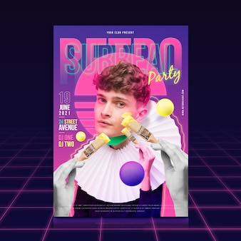 Plakat retro party z modelem