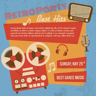 Plakat retro party