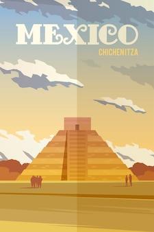 Plakat retro. piramida chichen itza. punkt orientacyjny meksyku.