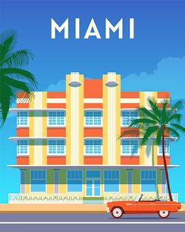 Plakat retro podróży po mieście miami, słoneczny dzień w dzielnicy art deco. summer florida vintage banner. ręcznie rysowane płaskie ilustracja.