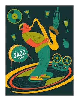 Plakat retro. saksofonista.