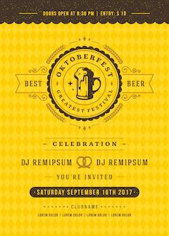 Plakat retro typografii festiwalu piwa oktoberfest