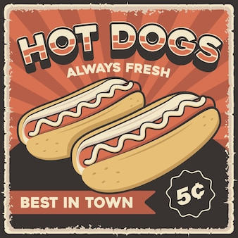 Plakat retro vintage hot dog