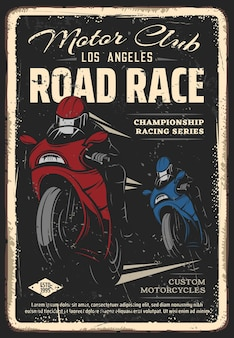 Plakat retro wyścigu ulicznego klubu motocyklowego. zawodnicy w pełnotwarzowych kaskach ścigający się na rowerach sportowych