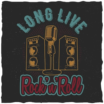 Plakat rock'n'roll ze słowami long live rock'n'roll do zaprojektowania na koszulkę