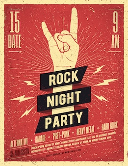 Plakat rock night party. ulotka. ilustracja w stylu vintage.