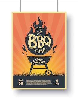 Plakat rocznika grill. czas na grilla. impreza grillowa.