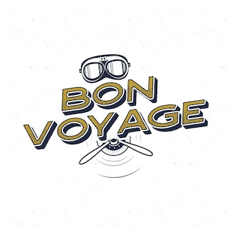 Plakat rocznika samolotu. bon voyage cytat z retro maską pilota i symbolami śmigła. etykieta graficzna, godło. projekt odznaki samolotu. pieczęć lotnictwa. fly stara ikona, karta. stockowa ilustracja wektorowa.