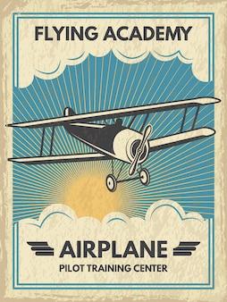 Plakat rocznika samolotu. ilustracja. retro baner z latać samolotem