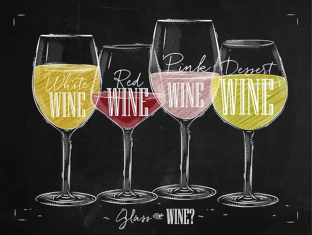 Plakat rodzaje win z czterema głównymi rodzajami wina z napisami białe wino, wino czerwone, wino różowe, wino deserowe rysunek kredą w stylu vintage na tablicy.
