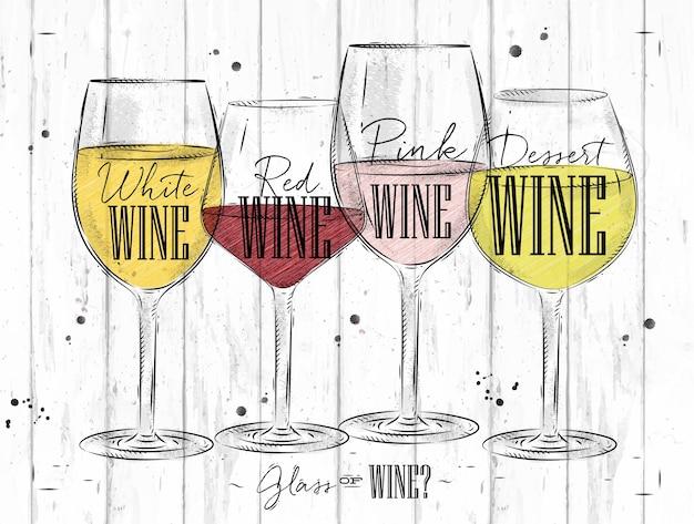 Plakat rodzaje wina z czterema głównymi rodzajami wina z napisami białe wino, wino czerwone, wino różowe, wino deserowe rysunek w stylu vintage na tle drewna