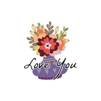 Plakat romantyczny wazon z kwiatami z tekstem love you