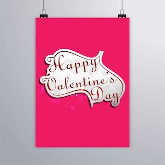 Plakat rosa con un corazón, feliz san valentin