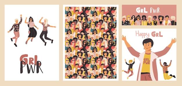 Plakat różnych kobiet. grupa szczęśliwych dziewcząt, zestaw banerów i ulotek z pięknem różnych międzynarodowych kobiet. koncepcja wektor zabawne sny feministyczne tło