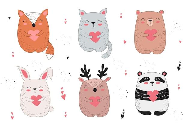 Plakat rysowania linii wektor z cute zwierząt i serca
