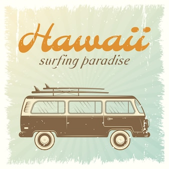 Plakat samochodu surfingowego