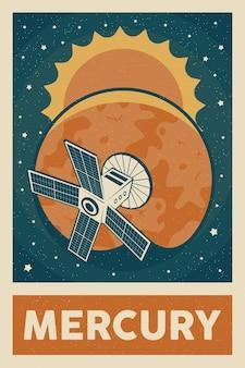 Plakat satelitarny eksplorujący planetę merkury w stylu retro i vintage