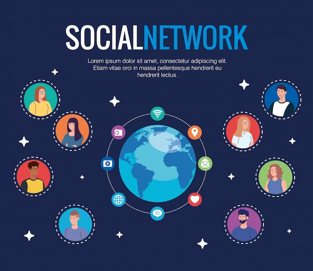 Plakat sieci społecznościowej, ludzi podłączonych do cyfrowej, interaktywnej, komunikacyjnej i globalnej koncepcji
