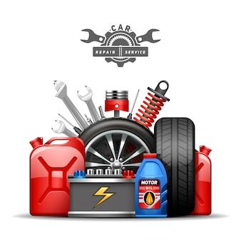 Plakat składu reklamowego centrum serwisowego samochodów z kołami opony kanister olej i gaz