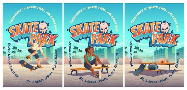 Plakat skateparku z chłopcem jadącym na deskorolce na rollerdrome. kreskówka pejzaż miejski z rampami i nastolatkiem wskakuje na plac zabaw dla ekstremalnych sportów.