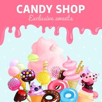 Plakat sklepu ze słodyczami
