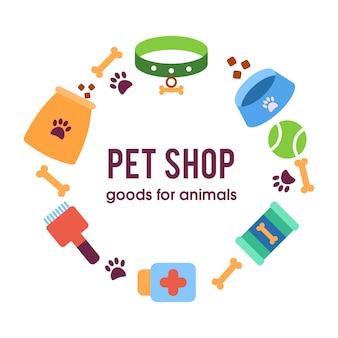 Plakat sklepu zoologicznego, pies z przedmiotami dla zwierząt
