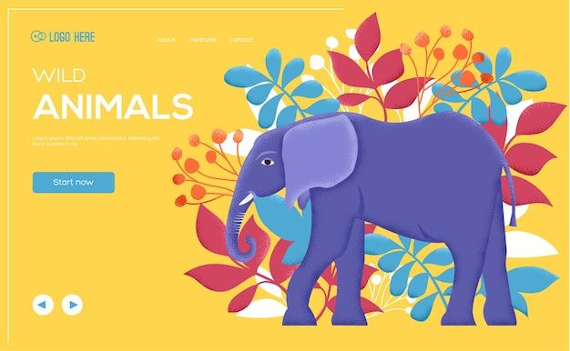 Plakat słonia, okładka książki, banery. układ ilustracji nowoczesnej strony suwaka. tekstura ziarna i efekt szumu. ulotka z koncepcją słonia, baner internetowy, nagłówek interfejsu użytkownika, wprowadź tło witryny.