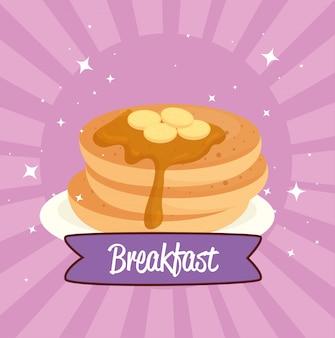Plakat śniadaniowy, naleśniki z syropem