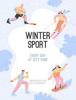 Plakat sportów zimowych na co dzień w koncepcji city park