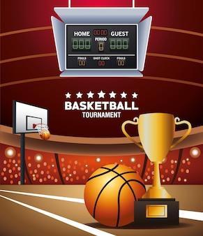 Plakat sportowy koszykówki z piłką i trofeum w sądzie