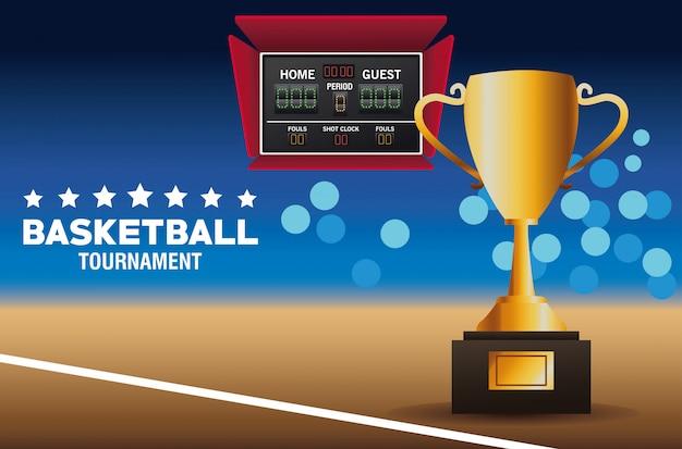 Plakat sportowy koszykówki z trofeum i tablicy wyników