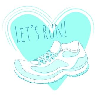 Plakat sportowy z ilustracją butów do biegania i tekstem pozwala biec