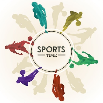 Plakat sportowy z postaciami sportowców