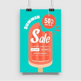 Plakat sprzedaży letniej lodów