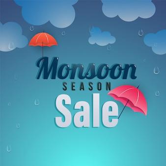 Plakat sprzedaży sezonów monsunowych