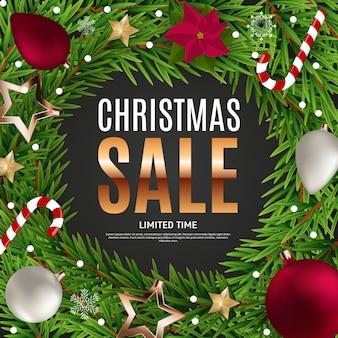 Plakat sprzedaży świątecznej i noworocznej