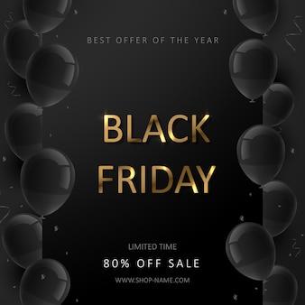 Plakat sprzedaży w czarny piątek. baner imprezy ze zniżkami komercyjnymi. czarne tło z balonami i złotym napisem.