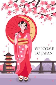Plakat starożytnej japońskiej gejszy