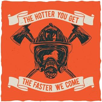 Plakat strażaka z inspirującym cytatem