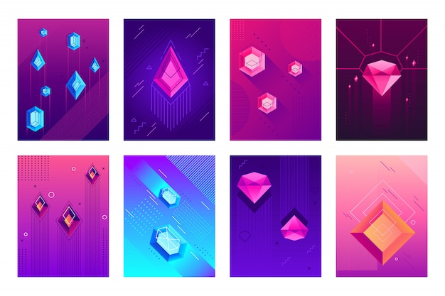 Plakat streszczenie kryształów. kamienie szlachetne klejnot kryształ, klejnoty diamentowe klejnoty i plakaty hipster klejnot na białym tle zestaw