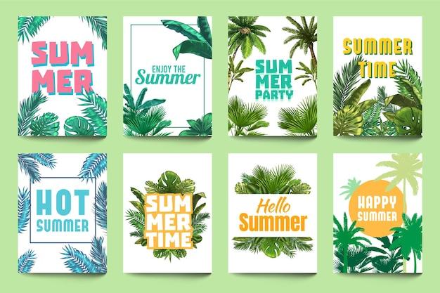 Plakat streszczenie lato. ciesz się latem, zaproszeniem na imprezę i witaj letnią ulotką z tropikalnymi liśćmi palm i zestawem liści monstera.