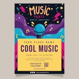 Plakat streszczenie muzyki party z mikrofonem