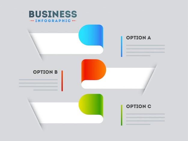 Plakat stylowy układ infographic z trzema różnymi opcjami szablonu